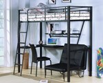 Twin Loft Bed w/Desk & Folding Bed & Chair