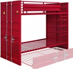 ACME Cargo Twin/Twin Bunk Bed, Red