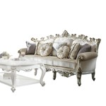 ACME Picardy II Sofa w/7 Pillows, Fabric & Antique Pearl