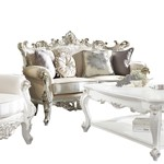 ACME Picardy II Loveseat w/4 Pillows, Fabric & Antique Pearl