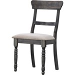 ACME Leventis Side Chair (Set-2), Light Brown Linen & Weathered Gray