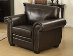 Louis Collection Traditional Upholstered Leather Arm Chair with Antique Brass Nail Head Trim, Brown
