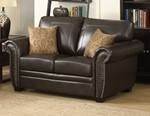 Louis Collection Traditional Upholstered Fabric Loveseat with Antique Brass Nail Head Trim and 2 Accent Pillows, Brown