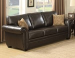ouis Collection Traditional Upholstered Leather Sofa with Antique Brass Nail Head Trim and 2 Accent Pillows, Brown
