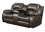 Samara Collection Modern Upholstered Transitional Reclining Loveseat, Dark Brown