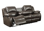Samara Collection Modern Upholstered Transitional Reclining Sofa with Dual Recliners and a Center Drop Down Table with Cup Holders, Dark Brown