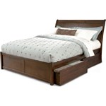 Bordeaux Full Bed with Flat Panel Foot Board and Flat Panel Under Bed Storage Drawers in an Antique Walnut Finish