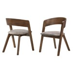 Jackie Mid-Century Modern Dining Accent Chairs in Walnut Finish and Brown Fabric - Set of 2