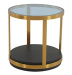 Hattie Glass Top and Walnut Wood End Table with Brushed Gold Frame