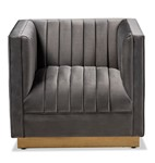 Baxton Studio Aveline Glam and Luxe Grey Velvet Fabric Upholstered Brushed Gold Finished Armchair