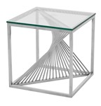 Contemporary Glass Top Lamp Table
