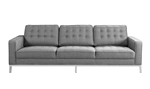 Chic Home Draper Sofa Three Seat Linen Upholstered Button Tufted Square Arm Silvertone Metal Legs Couch, Modern Contemporary, Grey