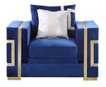 Cosmos Furniture Lawrence Transitional Style Navy Blue Chair with Gold Finish