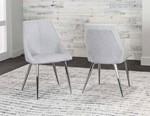 Lt.Gray Fabric and PU/Chrome Side Chair