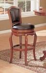 Contemporary Cherry Brown Wood 29 Inch Height Bar Stool