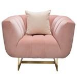 Venus Chair in Blush Pink Velvet w/ Contrasting Pillows & Gold Finished Metal Base by Diamond Sofa