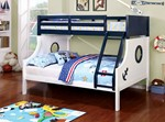 Twin/Full Bunk Bed, White & Blue ( Trundle Not Included )