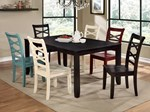 Table + 6 Chairs (2ex+2wh+1rd+1bl)