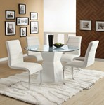 Glass Top Round Dining Table, White