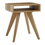 Azara Tiger End Table With Tiger Exotic Inlay, Caramelized