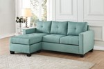 Reversible Sofa Chaise, Teal Linen Like Fabric