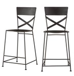 Artezia Matte Black Hammered Iron Counter Chairs, Set of 2