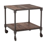 Paxton 22-Inch Square Reclaimed Teak Side Table with Gray Zinc Wheels