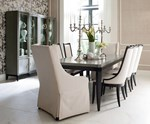 Leg Table + (4) 140 Upholstered Back Side Chairs + (2) 451 Host Chairs