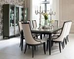 Leg Table + (4) 140 Upholstered Back Side Chairs