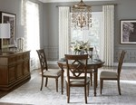 Round Dining Table + (4) 140 Side Chairs