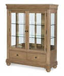 Display Cabinet (2 Drawers, 2 Glass Doors w/2 Glass Shelves, Plate Grooves, Mirrored Back, Touch Lighting)