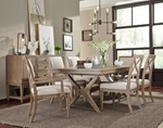Trestle Table + (4) 240 Upholstered Side Chairs + (2) Upholstered Arm Chairs