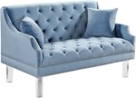 Roxy Sky Blue Velvet Loveseat