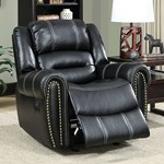 Transitional Glider Recliner Single Chair, Black Finish
