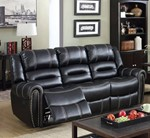 Breathable Leatherette Recliner Sofa, Black