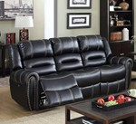 Leatherette Recliner Sofa, Black