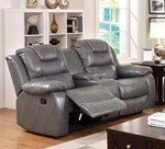 Loveseat With Console & 2 Recliner, Gray