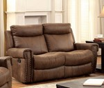 Leatherette Recliner Loveseat, Brown