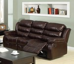 Leatherette Three Seater Sofa With Recliner, Dark Brown