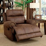 Leatherette Glider Recliner Chair, Brown