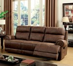 Leatherette Sofa With 2 Recliners, Brown