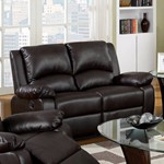 Cozy Leatherette Motion Loveseat, Brown