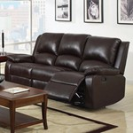 Leatherette Motion Sofa, Brown