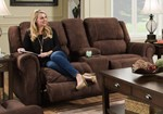 Simmons Upholstery Osborn Chocolate Double Motion Loveseat w/Console