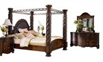 2pc Bedroom Set w/King Poster Canopy Bed