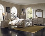 Timber Creek Traditional Grey Wood Glass 2pc King Bedroom Set Bedrooms The Classy Home