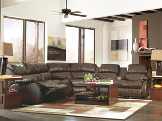 DuraBlend Contemporary Cafe PU Cushion Back Double Reclining Loveseat