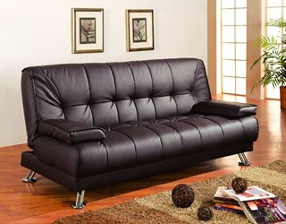 Dark Brown Fabric Metal Sofa Bed W/Tufted Seat