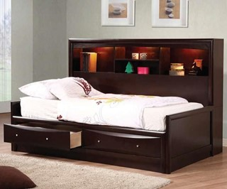 Phoenix Transitional Brown Wood Storage Full Daybed