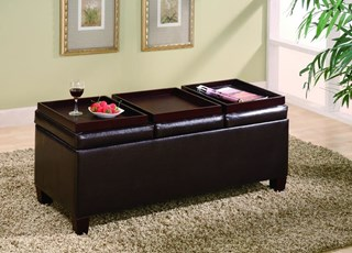 Dark Brown Wood Leatherette Try Top Storage Ottoman